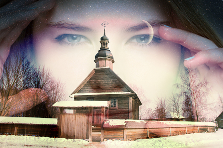 54602537 - authentic 18th century village in russia. double exposure. portrait of a girl